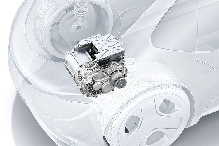 As roda listrik BOSCH, satu rangkaian terdiri dari mesin, transmisi, dan power electronic.