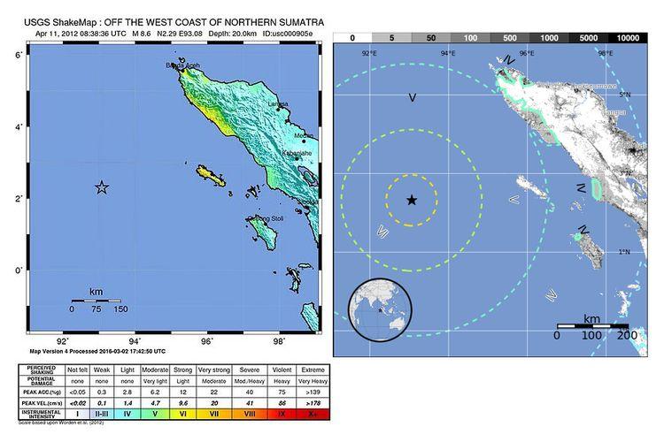Peta gempa Aceh 11 April 2012