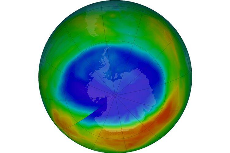 Luas lubang ozon pada 2017 yang menunjukkan penyusutan sejak 1988
