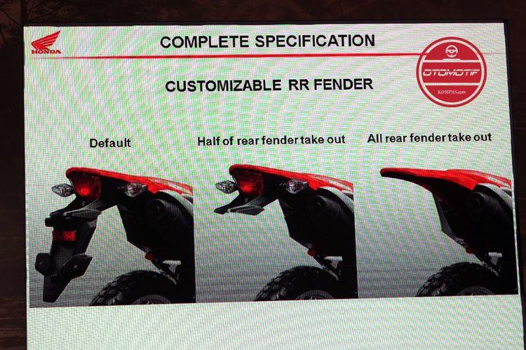 Ada tiga macam bongkar-pasang spakbor Honda CRF150L