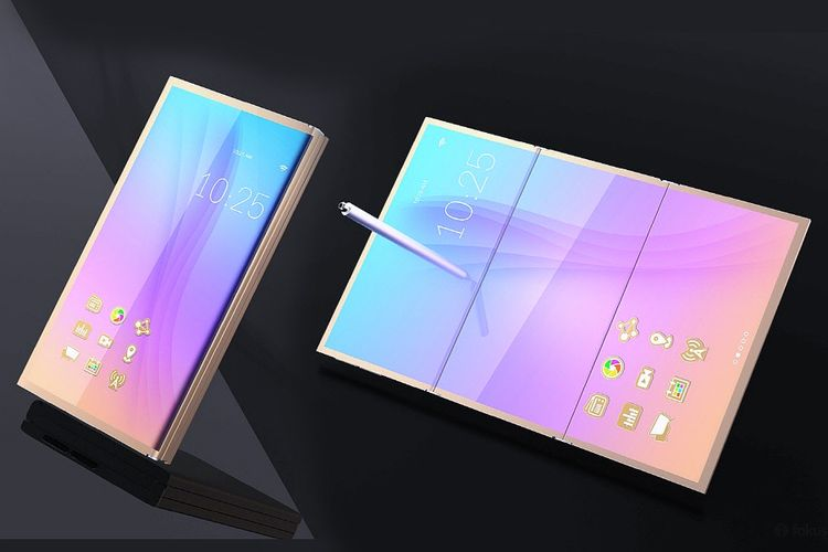 Ilustrasi smartphone Samsung dengan layar yang bisa dilipat.