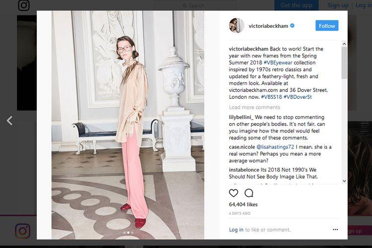 Inilah unggahan Victoria Beckham di akun Instagram-nya yang memicu munculnya banyak protes, yang menilai perempuan 43 tahun itu menggunakan model yang terlalu kurus.