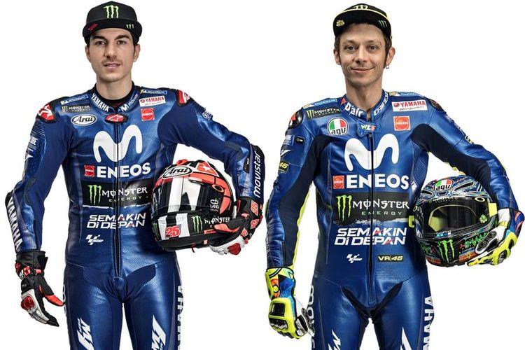 Seragam baru tim Yamaha Movistar dengan logo Semakin di Depan yang ada di bagian perut baju balap Valentino Rossi dan Maverick Vinales.(yamaha-racing.com)