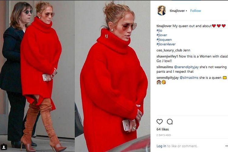 Penampilan Jennifer Lopez saat muncul di butik Hermes, Beverly Hills, California, Amerika Serikat, akhir pekan lalu.