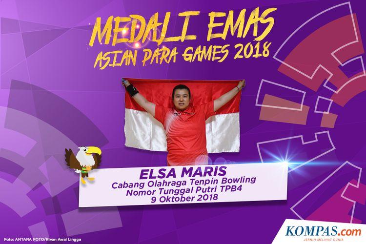 Elsa Maris, meraih medali emas pada cabang olahraga Tenpin Bowling nomor tunggal putri TPB4, Jakarta (9/10/2018).