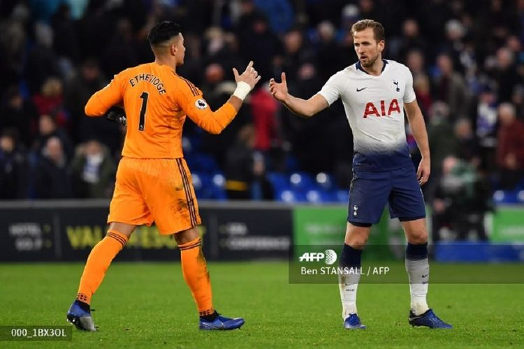 Neil Etheridge menyalami Harry Kane seusai laga Cardiff City vs Tottenham  Hotspur pada lanjutan Liga Inggris bdf5c62434