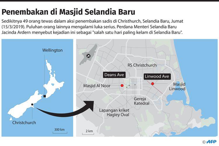 Lokasi penembakan di masjid Selandia Baru