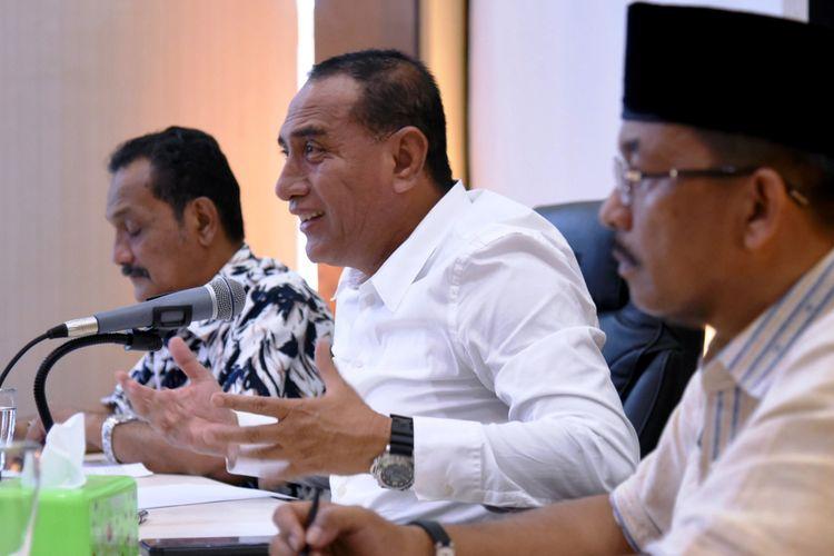 Gubernur Sumatera Utara Edy Rahmayadi saat menerima perwakilan pengunjukrasa di press room kantor gubernur , Jumat (8/2/2019)