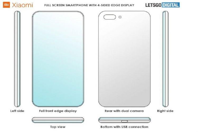 Ilustrasi paten ponsel xiaomi dengan layar 4 sisi melengkung