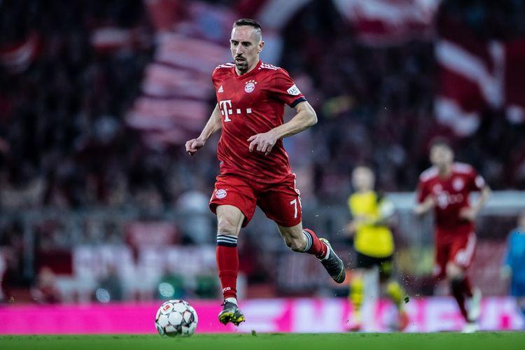 Franck Ribery tampil pada laga Der Klassiker, Bayern Muenchen vs Borussia Dortmund, di Stadion Allianz Arena, 6 April 2019.