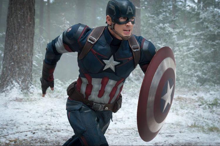 Aktor asal Amerika Serikat Chris Evans berperan sebagai Captain Amerika dalam film Avengers: The Age of Ultron (2016).