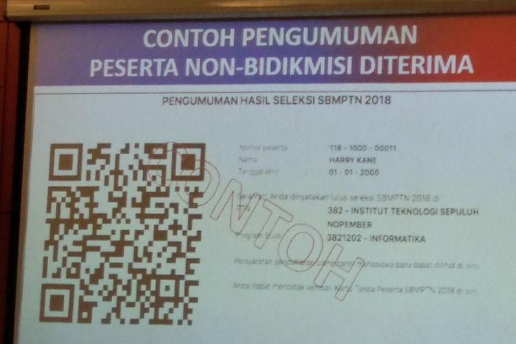 Ilustrasi. Contoh pengumuman peserta diterima dalam seleksi SBMPTN 2018