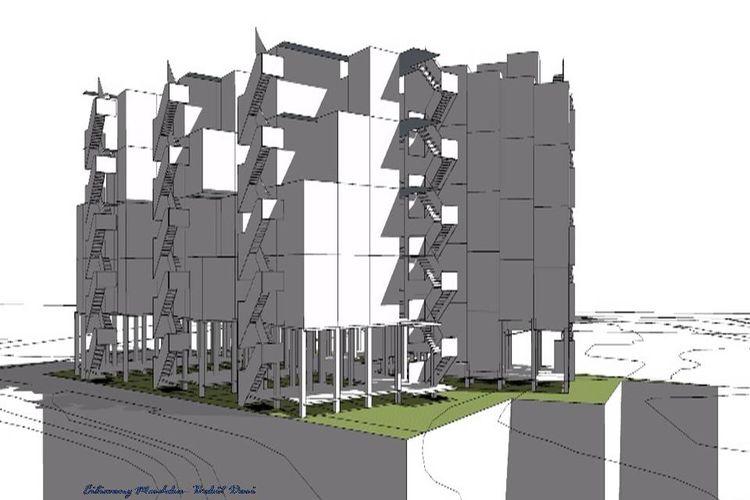 Desain kampung susun untuk warga Bukit Duri yang diajukan Komunitas Ciliwung Merdeka.