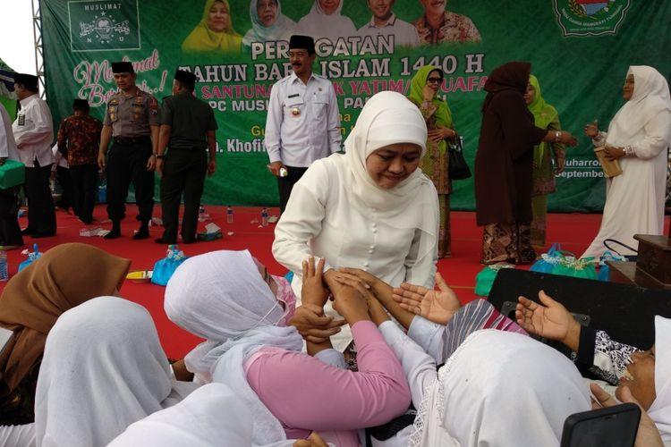 Khofifah Indar Parawansa saat menghadiri tahun baru Hijriyah di Pamekasan, Rabu (19/9/2018). Khofifah enggan menjadi ketua tim sukses pemenangan pasangan Jokowi-Maruf Amin di Jawa Timur.