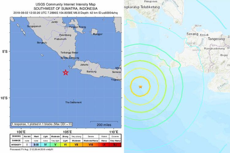 Peta lokasi gempa di perairan Banten, Jumat (2/82019) malam.