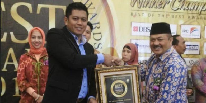 Direktur Marketing PT SAP, Baktiar Azami, usai menerima penghargaan The Prospective Resort Development untuk proyek The Leaf Boutique Resort di kawasan Ciawi, Bogor, Kamis (31/5/2018).