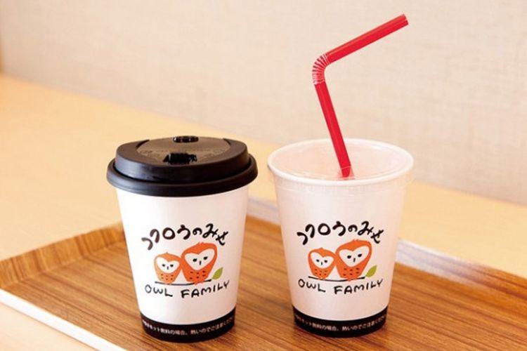 [Fukuro no mise – Cabang Hakata] Kemasan minuman yang terdapat logo original Fukuro no mise
