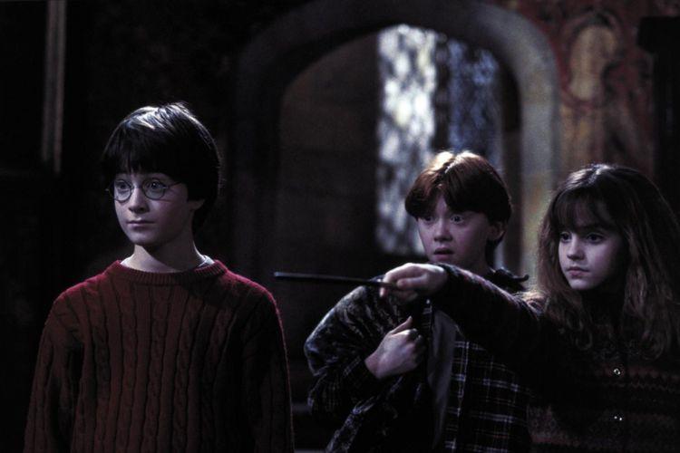 Tiga bintang film Harry Potter, Daniel Radcliffe, Rupert Grint, dan Emma Watson.
