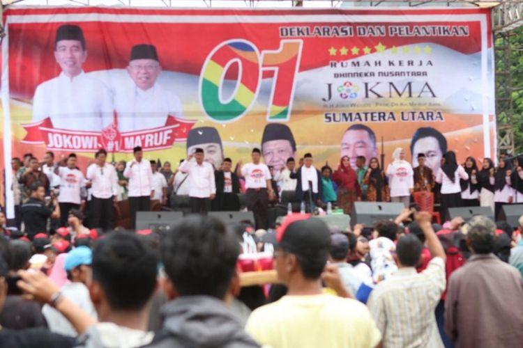 Cawapres nomor urut 01 Maruf Amin dalam kunjungan ke Medan.