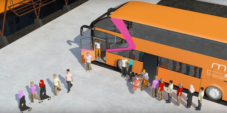 Motobus, bus tingkat yang bisa mengangkut penumpang bersama sepeda motor.