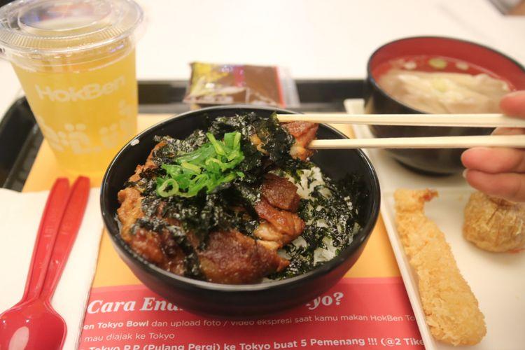 Menu Baru HokBen Tokyo Bowl Chicken Steak, yang diluncurkan Rabu (2/8/2017).