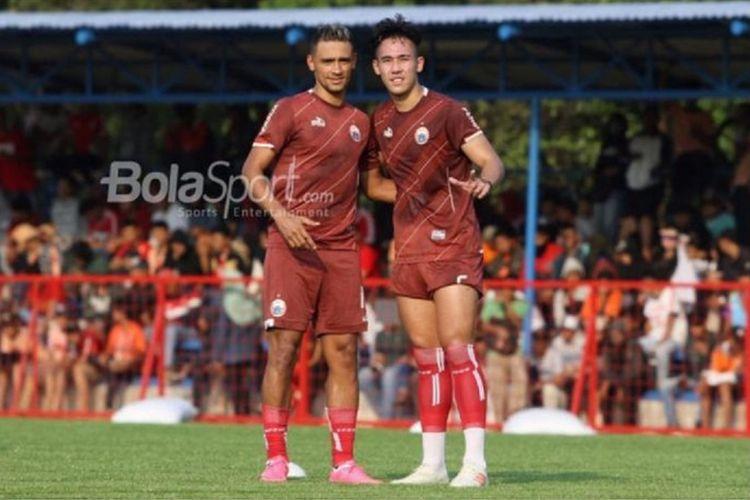 Ryuji Utomo (kanan) dan Bruno Oliveira de Matos alias Bruno Matos (kiri) saat mengikuti latihan Persija Jakarta.