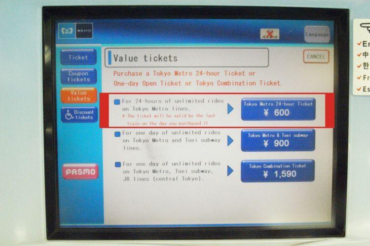 Pilihan Tokyo Metro 24-Hour Ticket berada paling atas