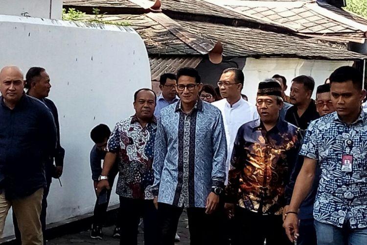Sandiaga Uno saat di Kraton Kilen,  usai bertemu dengan Sri Sultan HB X