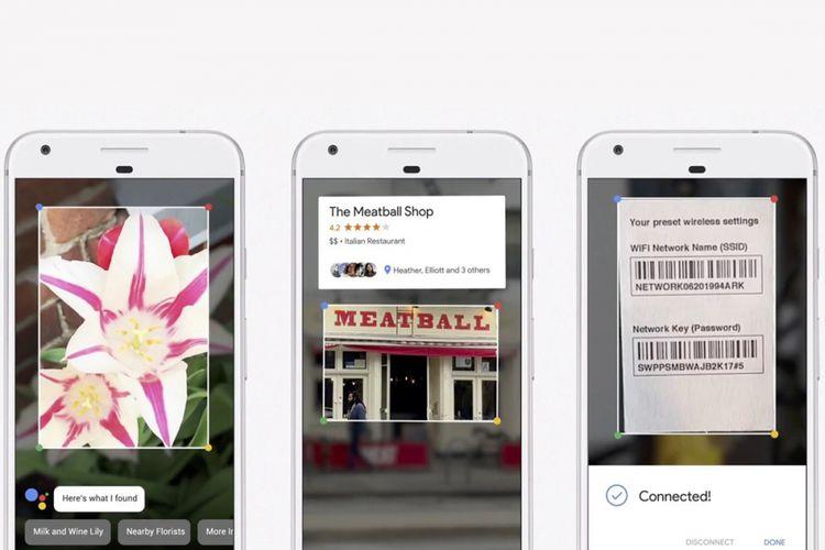 Ilustrasi cara kerja Google Lens mengenali obyek dan informasi dalam foto.