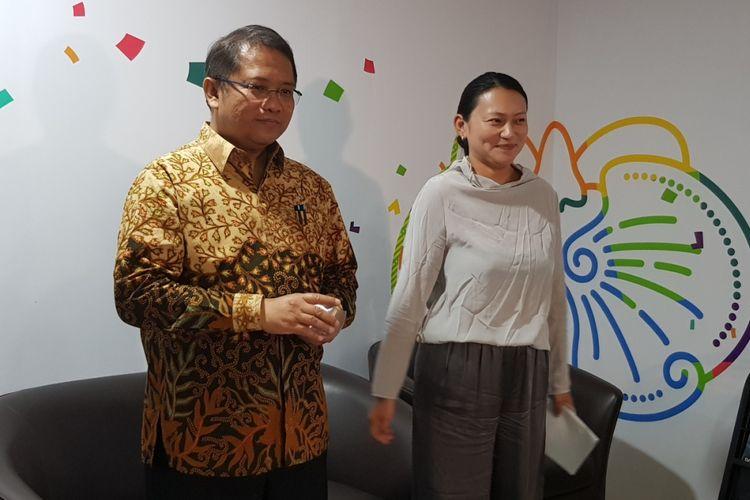 Menkominfo Rudiantara (kiri) dengan Zhen Liu, SVP Bytedance (perusahaan induk TikTok) di kantor Kominfo, Rabu (4/7/2018).