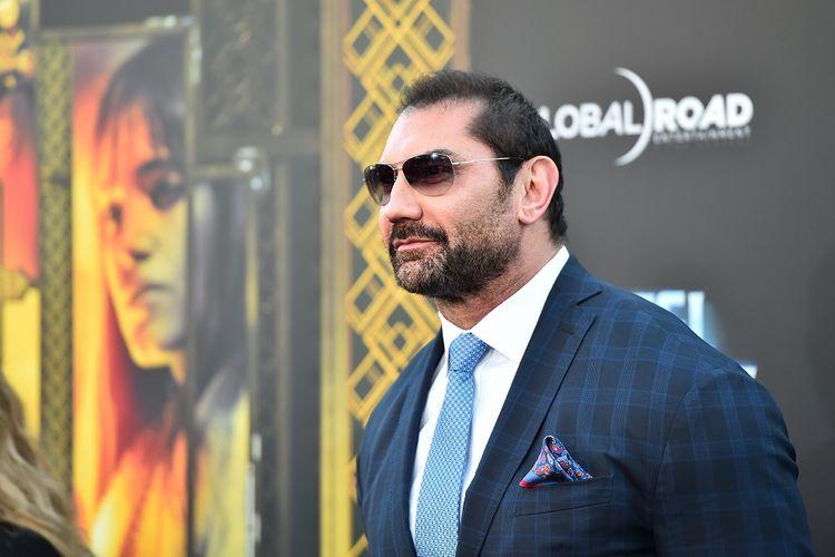 Aktor Dave Bautista menghadiri pemutaran perdana film Hotel Artemis di Regency Village Theatre di Westwood, California, pada 19 Mei 2018.