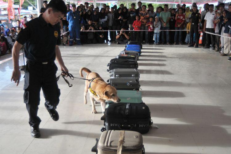 Petugas Bea dan Cukai dengan anjing pelacak memeriksa koper penumpang pesawat saat simulasi pencegahan peredaran narkoba masuk melalui bandara di Banda Aceh, Sabtu (11/8/2018). Simulasi itu untuk meningkatkan kemampuan petugas Bea dan Cukai dalam menangkal peredaran narkoba masuk ke Indonenseia melalui bandara maupun jalur laut. ANTARA FOTO/Ampelsa/wsj/18.