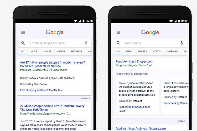Google mulai memberi label hasil kroscek fakta di berita-berita di laman hasil pencarian.