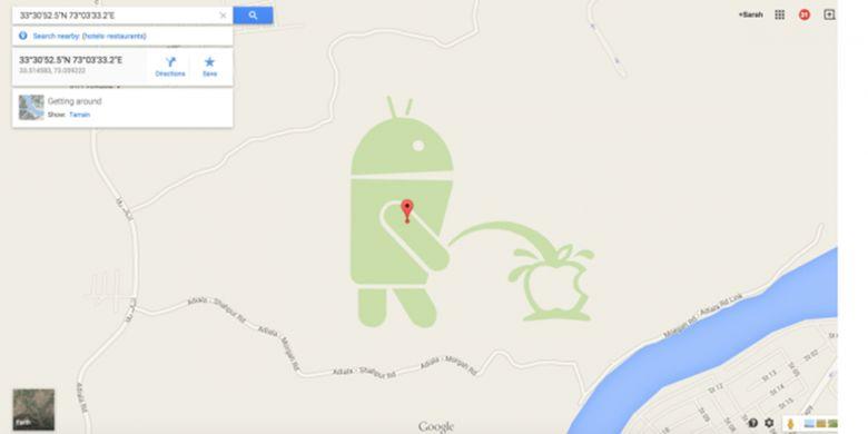 Map Maker pernah dipakai iseng oleh pengguna untuk membubuhkan gambar kurang senonoh ini di peta Google Maps pada 2015 silam. Kejadian ini sekaligus menandai rawannya fitur editing peta terhadap penyalahgunaan.