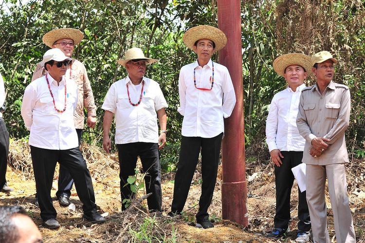 Presiden Jokowi didampingi sejumlah pejabat meninjau salah satu lokasi alternatif pengganti ibu kota RI, di Kabupaten Gunung Mas, Kalteng, Rabu (8/5/2019) siang.
