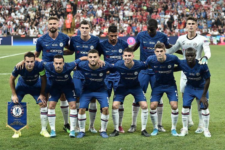 Tim Chelsea berpose sebelum laga UEFA Super Cup 2019 melawan Liverpool di Stadion Besiktas Park, Istanbul, Turki, Rabu (14/8/2019).
