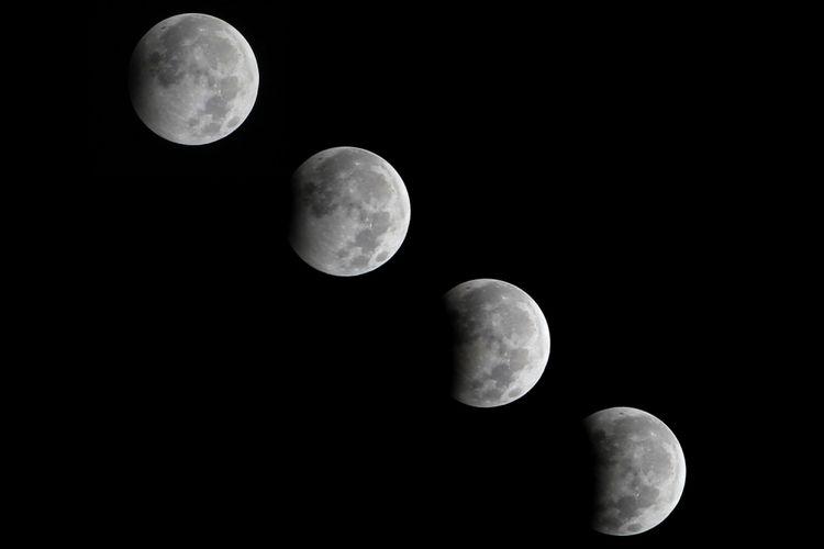 Foto kolase gerhana bulan sebagian di Indramayu, Jawa Barat, Selasa (8/8) dinihari. Fenomena Gerhana Bulan Sebagian (GBS) yang terjadi selama 5 jam 52 detik tersebut, 20 persen permukaan bulan berada dalam bayang-bayang bumi dan terjadi pada pukul 00.22 WIB hingga puncaknya pada pukul 01.20 WIB.