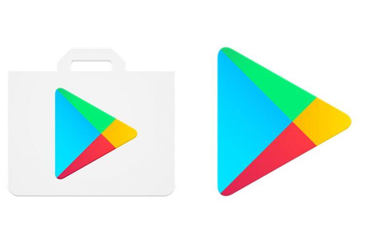 Tampilan logo baru Google Play Store (kanan) dibanding logo lama