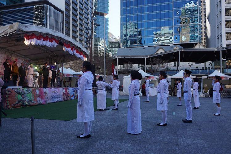 Upacara memperingati Hari Kemerdekaan Republik Indonesia ke 72 di King George Square, Brisbane, Queensland, Australia, Sabtu (19/8/2017)