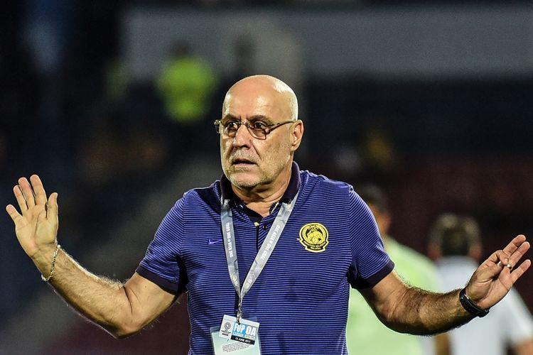 Pelatih kepala timnas Malaysia, Eduardo Manuel Vingada, bereaksi dalam pertandingan kualifikasi Piala Asia 2019 melawan Lebanon di Johor Bahru, Malaysia, 13 Juni 2017.