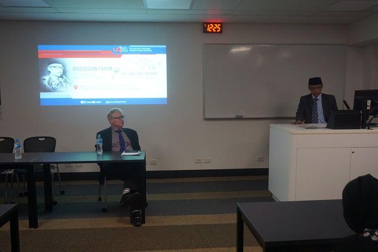 Haedar Nashir saat menjadi pembicara dalam diskusi terkait Islam Berkemajuan di University of Queensland, Brisbane, Australia, Rabu (21/2/2018)