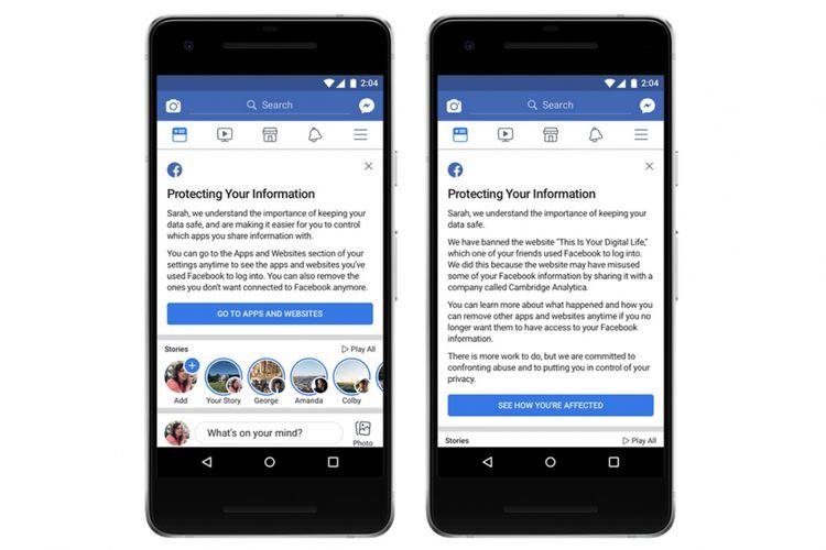 Jika akun Facebook Anda dicuri Cambridge Analytica, maka tampilan notifikasi di newsfeed akan seperti pada gambar kanan. Namun jika akun aman, tampilan notifikasi akan serupa tampilan gambar kiri.