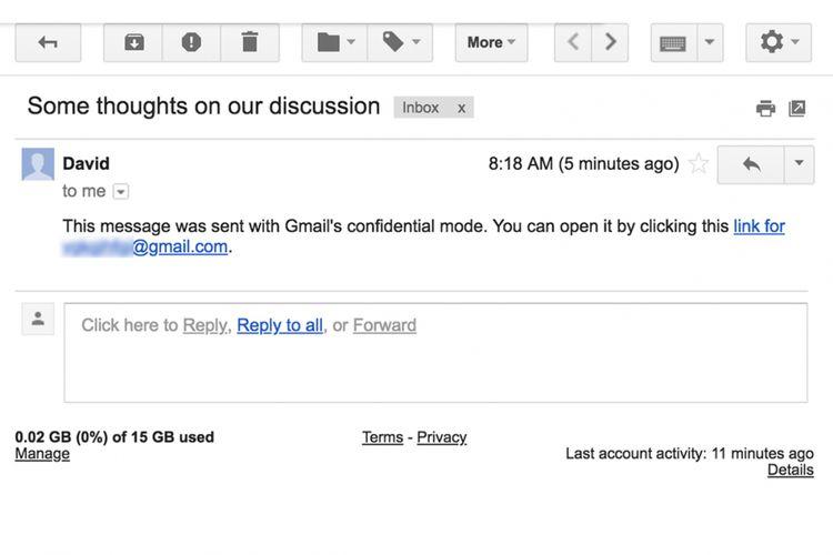 Penerima e-mail rahasia mendapatkan tautan menuju e-mail dimaksud.