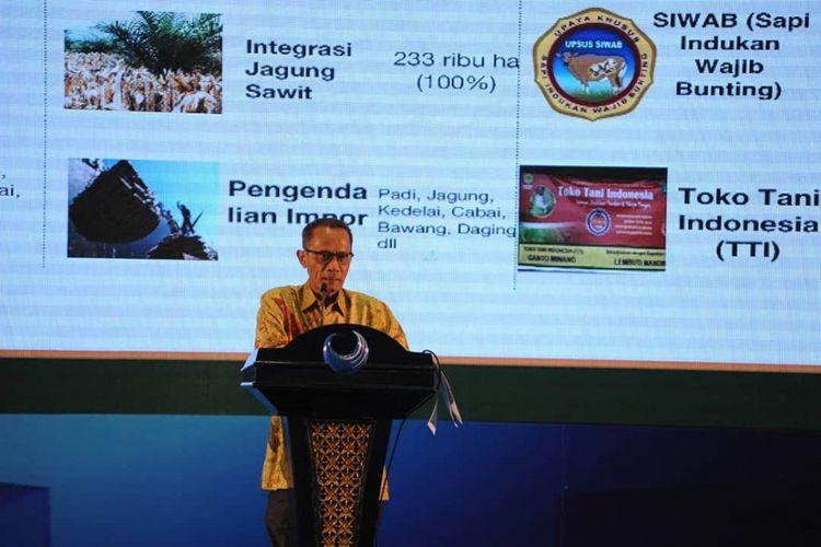 Kepala Badan Ketahanan Pangan Kementan Agung Hendriadi memaparkan sejumlah program andalan Kementerian Pertanian untuk mengatasi stunting, Selasa (3/7/2018)
