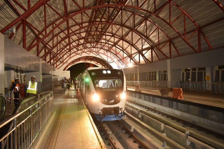 Kereta LRT Palembang saat berada di Depo Jakabaring