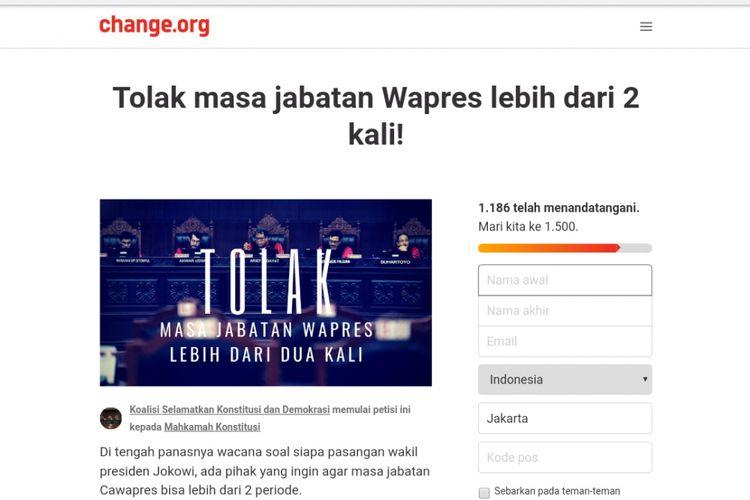 Ribuan warganet menandatangani petisi berjudul Tolak masa jabatan Wapres lebih dari 2 kali! di laman change.org. Hingga pukul 10.07 WIB, Senin (30/7/2018), petisi itu ditandatangani sebanyak 1.186 netizen.