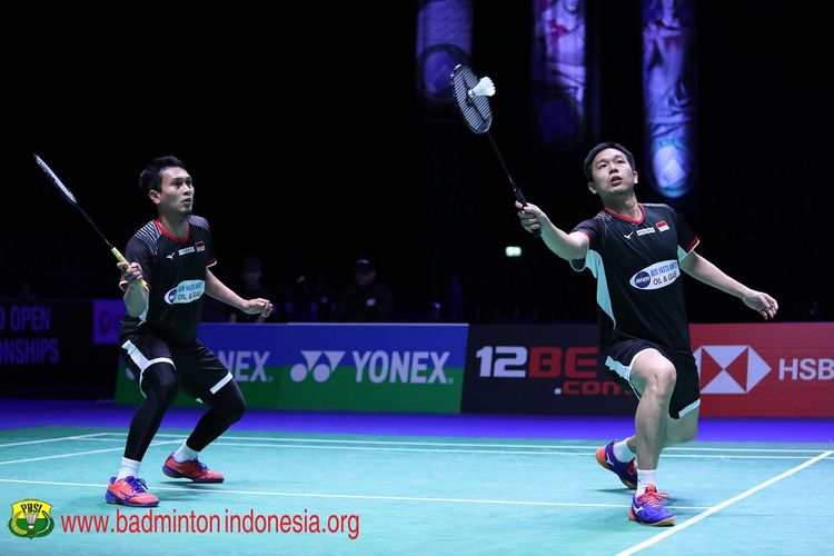 Pasangan ganda putra Indonesia, Hendra Setiawan/Muhammad Ahsan, menjadi juara All England 2019.