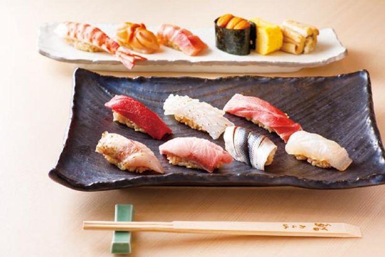 Hidangan makan malam Joganji seharga 16.200 yen tersedia melalui reservasi yang harus dilakukan sehari sebelumnya. Selain nodoguro dan aori-ika dari wilayah Hokuriku, ootoro (tuna berlemak) dibuat dengan honmaguro (tuna) dari daerah Toi di Hokkaido juga termasuk dalam set yang isinya dua belas potong.