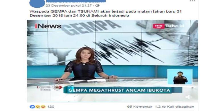 Tangkapan layar berita hoaks yang menyebutkan akan terjadi gempa dan tsunami pada 31 Desember 2018 di seluruh wilayah Indonesia