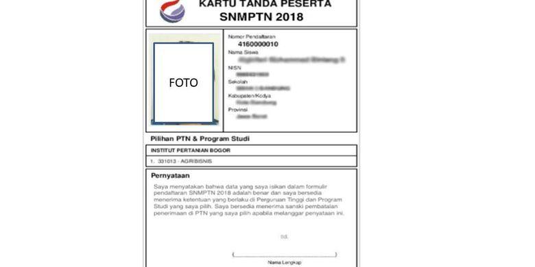Contoh kartu pendaftaran SNMPTN 2018